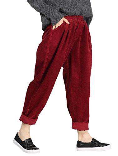 Vogstyle Damen Herbst/Winter Beiläufige Baumwoll Cordhose mit Taschen Medium Style 1-Red
