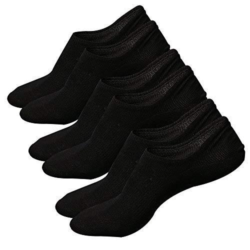 Ueither calzini fantasmini da uomo, sneaker calze invisibili in cotone elasticizzato, calze corti traspirante sportive con taglio basso, antiscivolo (taglia:38-44, colore 3 (3 paia nero))