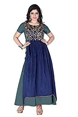 Generic Women's Georgette Gown (Pink_ Free Size)