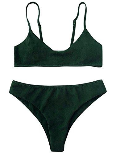 ZAFUL Damen Bikini Set Zweiteilige Badeanzug High Cut Bralette Sexy Swimsuit Sommer (Grün, S (EU 36))