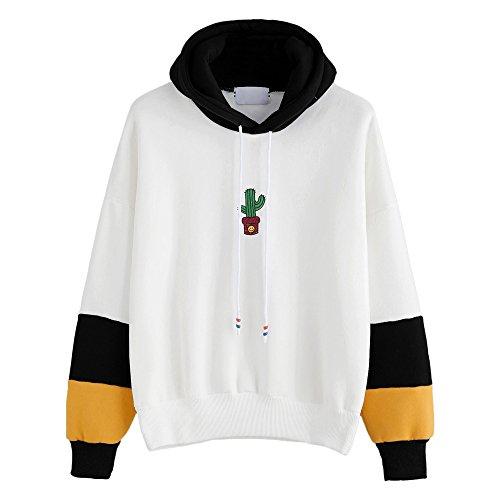 Xmiral Damen Hoodies Baumwolle Mode Einfarbig Kleidung Pullover Mantel Hoody Sweatshirt (L,Schwarz)