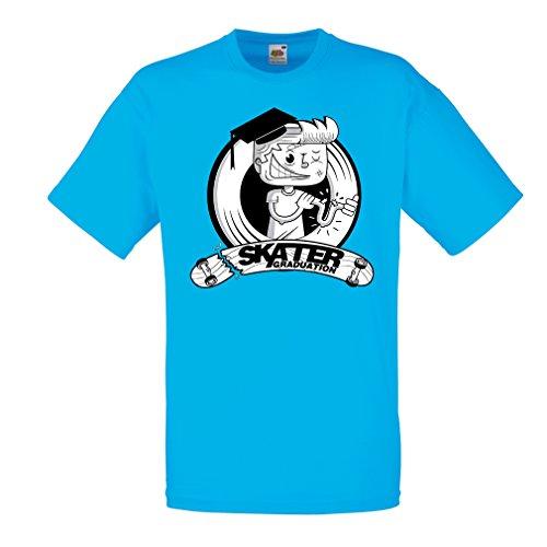 Männer T-Shirt Professionelle Skate-Akademie Graduierung - Für Skater - Skateboard - Longboard, Geschenke für den Skater (Small Blau Mehrfarben)