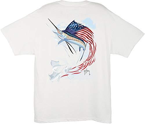 Guy Harvey Herren T-Shirt Star Spangled, Herren, weiß, Small (Guy Harvey-t-shirt)