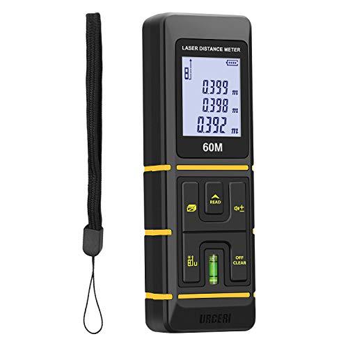 URCERI Laser Entfernungsmesser 60m, Mini Distanzmessgerät Z1 Laser Distanzmesser Messbereich bis 60m/197ft ±2mm, 30 Datenspeicherung, leicht mit LCD Hintergrundbeleuchtungautomatische Berechnung