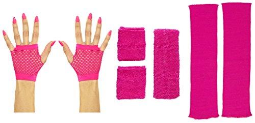 Neon pink Beinstulpen Handschuhe kurz oder lang mit Stirnband und Schweißbändern (Handschuhe kurz) (Achtziger Jahre Kostüme Für Erwachsene)