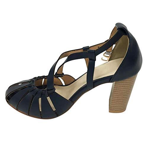 LILICAT_Schuhe Damen High Heels Riemchen Pumps Plateau Elegante Abend Sandaletten mit Blockabsatz Slingbacks Peep Toes Party Hochzeit Retro Highheel-Sandalen