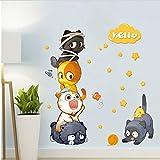 Super Cute Cat Playing Accatastamento Arhat Wall Stickers Home Porch Children's Room Guardaroba Decorazione Murales animali rimovibili