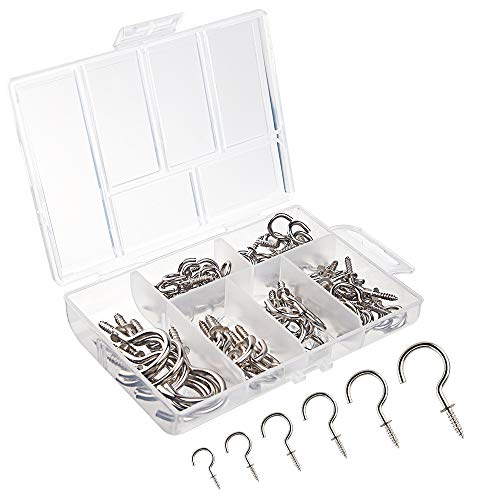 Schraube Haken (FEPITO 75 Stück Schraubhaken Deckenhaken Weiß Multi-Größe Vernickelt Metall Schraubbare Decke Haken Cup Haken)