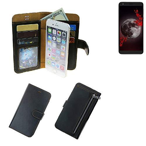 K-S-Trade® Für Sharp Aquos B10 Schutz Hülle Portemonnaie Case Phone Cover Slim Klapphülle Handytasche Schutzhülle Handyhülle Schwarz Aus Kunstleder (1 STK)