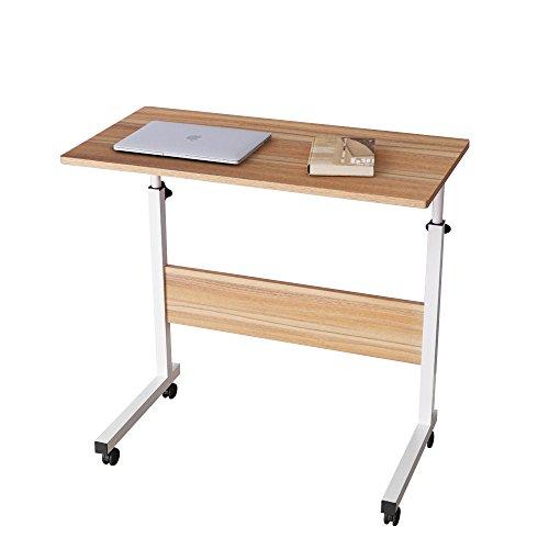 DlandHome 80 * 40cm Computertisch Schreibtisch Laptoptisch Beistelltisch mit Rollen höhenverstellbar, Laptop Notebook Ständer Tisch Frühstück Tablett für Bett, Sofa, Couch Eiche