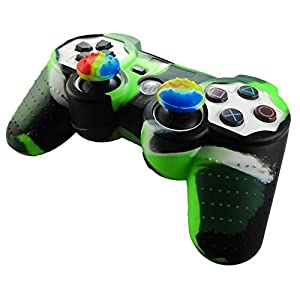 Pandaren® Silikon hülle skin für PS3 controller (licht grün + schwarz) x 1 + thumb grip aufsätze x 2