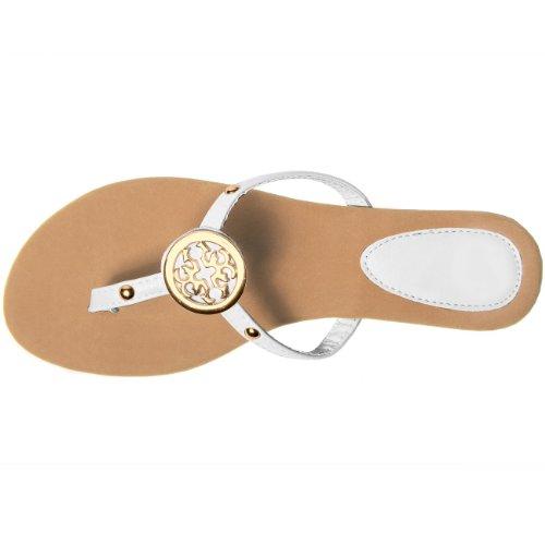 CASPAR Sandales pour femme / Tongs / Entredoigt avec joli élément doré - plusieurs coloris - SSA007 Blanc