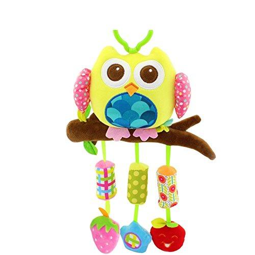 Baby Station Baby Crib & Stroller Plush Playing Toy Car Hanging Rattles (Yellow Owl)