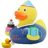 LILALU® PATOS de GOMA Fiestas/Cumpleaños/Ocasiones (Varios colores y diseños) + Original pequeño Pato de goma, LILALU:Cumpleaños Duck / 1980