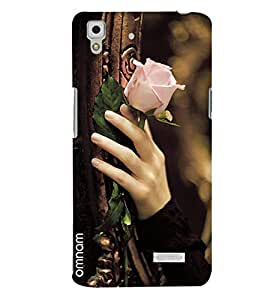 Omnam Girl Carrying Beaurtiful Pink Rose In Hand Printed Designer Back Cover Case For Oppo R7