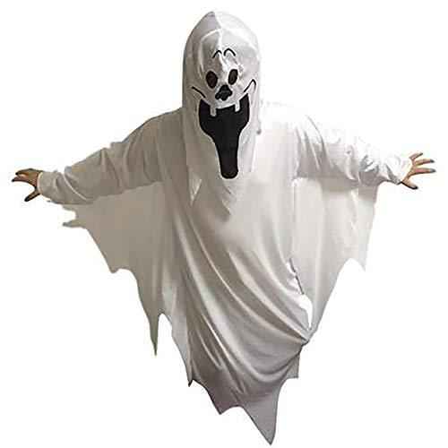 Kostüm Magier Männliche - BLTX Kostüm mit Kapuze Rollenspiel Vampir weißen Geist Kostüm Zombie Dämon Tod Mantel Magier Maskerade Leistung Kostüm Halloween-Party,childmodels