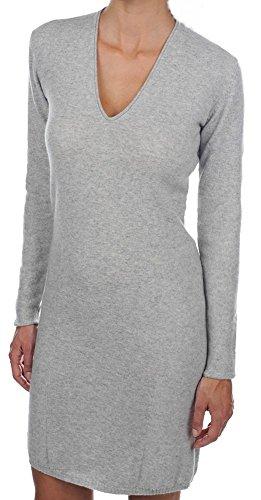 Balldiri 100% Cashmere Kaschmir Damen Kleid V-Ausschnitt 2-fädig hellgau M (Cashmere-rollkragen-kleid)