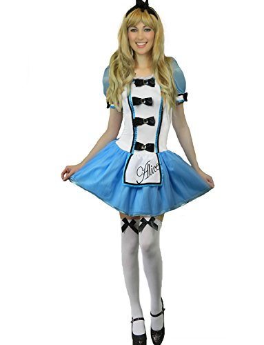 Yummy Bee - Alice im Wunderland Karneval Fasching Kostüm Damen + Strümpfe Größe 34 - 46 (42-44) (Queen Hearts Strümpfe Of)