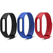 Rubility® 3 Packs - Multicouleurs Remplacement de Bracelet Adapte au Xiaomi Wristband 2 / Strap en Silicone pour Xiaomi MiBand 2 (Noir+Bleu+Rouge)