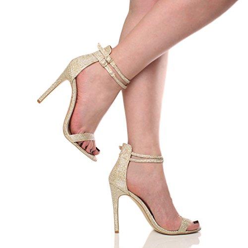 Damen Hohen Absatz Kaum Dort Fesselriemen Schnalle Stilettos High Heels Sandalen Schuhe Größe Gold Glitzerstaub Schimmer