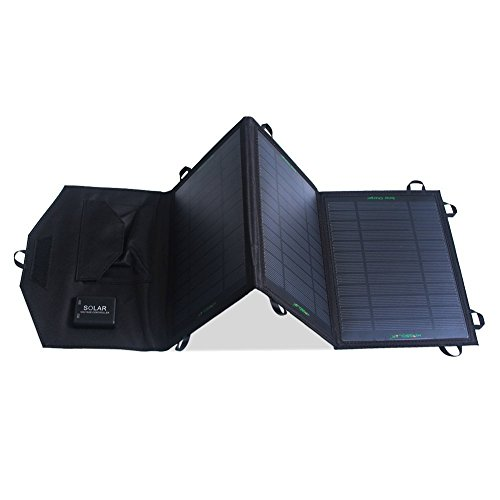 KINGSOLAR 19.5W 2-Port USB Solar Charger with PowermaxIQ Technology Portable Solar Panel for iPhone, iPad, iPod, Samsung, Camera and More