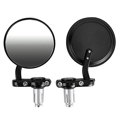 SODIAL(R) Universal de la motocicleta Espejo par forma redonda 2 sujetadores de cinta de moda que llevan diametro del manillar 8 mm o 7/8 '22MM espejo giratorio resplandor antirreflectante