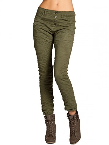 Caspar khs033Donna Boyfriend pantaloni Olive green (solid)