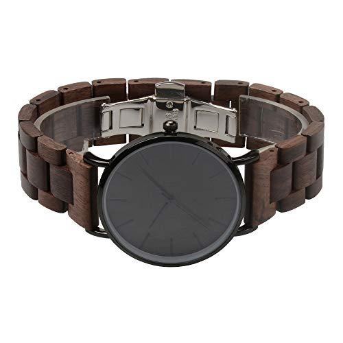 Holzuhr Herren Damen Unisex Holz-Armbanduhr mit Legiertem Uhrengehäuse und Holzarmband (Walnuss) - 3