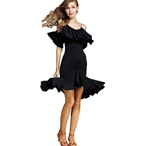 Girl Show Kostüm Adult - Wangmei Lateinischer Tanzrock Für Frauen Trägerkleid Schöner Lotus Tanzkostüm Latein Praxis Show Kleider 757, Black, XL