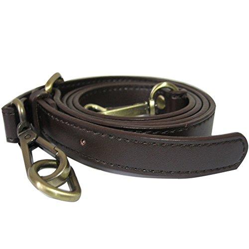Neuleben Schulterriemen echtes Leder 120cm Schultergurt Riemen Gurt Lederriemen für Taschen Handtasche Umhängetasche (Dunkel Braun-messing Haken)