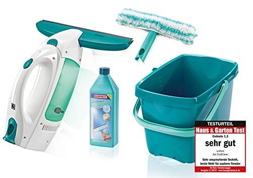 Leifheit Set Fenstersauger Dry & Clean mit Einwascher, Eimer & Glanzreiniger für streifenfreie Reinigung, Fensterreiniger für glatte Flächen, Fensterputzer mit langer Laufzeit und Click-System