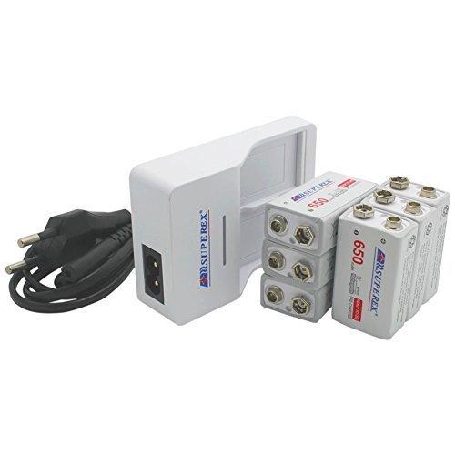 SUPEREX Carica batterie da 9V per Batterie Ricaricabili agli Ioni di Litio Colore Bianco + Batterie Ricaricabili agli Ioni di Litio da 9V 650mAh per radio transistor, cordless, giocattoli a controllo remoto, allarme antifumo, microfono wireless – Confezione da 6 (Si prega di fare attenzione al voltaggio output delle batterie: 7.4V-8.4V)