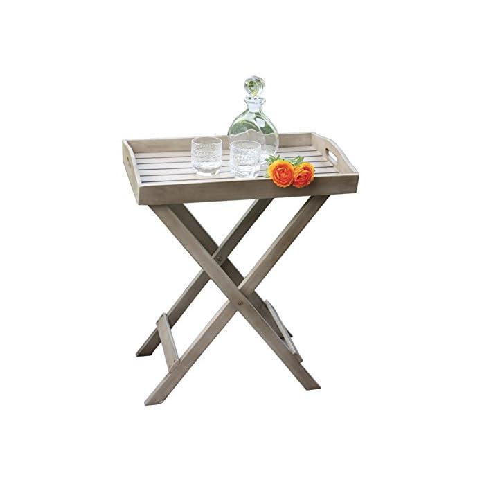 Tablett Mit Stnder France Washed Grey Grilltisch Tisch Serviertablett Beistelltisch Klappbar 60x40x70 Cm
