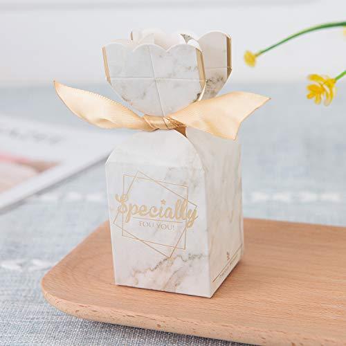Zorpia 20 Stück DIY Hochzeit Gastgeschenke Süßigkeiten Boxen mit Band und Blume für Verlobung, Brautparty, Prinzessin Pink Marble