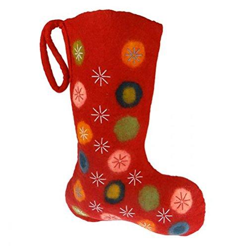Nikolausstiefel aus Filz rot Bestickt handgemacht Fair Trade