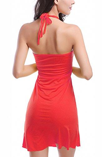 Damen Bikini Cover Ups Kleid Strandkleid Neckholder Ärmellos Trägerlos Uni-Farben Die Neue No Steel Prop No Chest Pad 2017 Rot