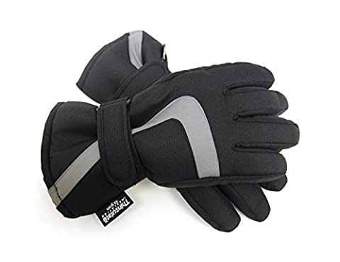 Kids Black Padded Ski Gloves with Thinsulate Lining 12-13 Years GL109
