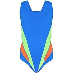 Aquarti Mädchen Schwimmanzug Sportlicher Badeanzug Y-Träger, Farbe: Blau / Grün, Größe: 152