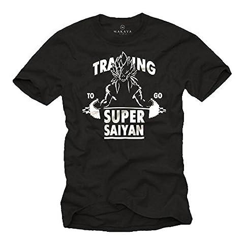 GYM T-Shirt for Men - Training To Go Super Saiyan - Son Goku Black Dragon Size L