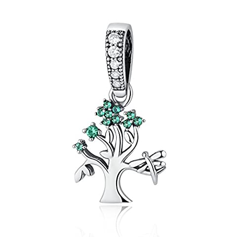 Dangle Family Tree of Life Dragonfly 925 Sterling Silver Charms Green Cubic Zirconia Fit European Bracelet ByChengmen
