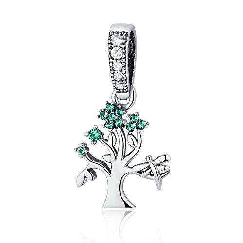 Ciondolano albero della vita in argento sterling 925a forma di libellula verde zirconi christmas gifts braccialetto europeo adatto a chengmen gioielli