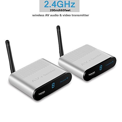 galexbit AV2202,4GHz 200M Wireless AV Sender Transmitter Empfänger (RCA) bis zu 660Füße