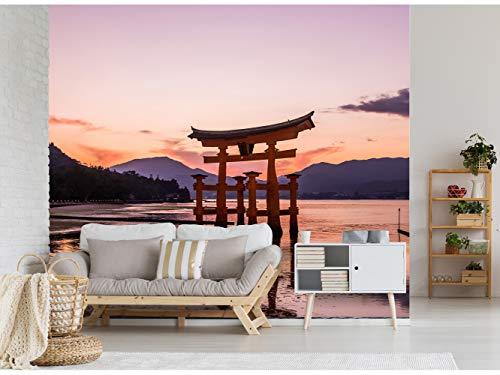 Fotomural Vinilo para Pared Puerta Torri al Amanecer en Japón | Fotomural para Paredes | Mural | Vinilo Decorativo | Varias Medidas 200 x 150 cm | Decoración comedores, Salones, Habitaciones.