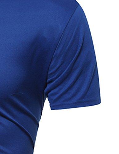 YCHENG Herren Casual Freizeit Kurzarm Tops Figurbetont Sommer T-Shirt mit Tierdruck Blau