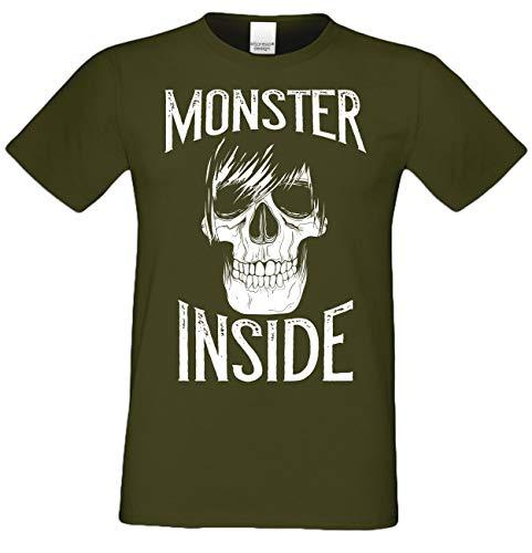 Halloween Herren T-Shirt -:- Monster Inside Skelett Skull Totenkopf -:- Farbe: Khaki Gr: M