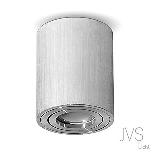 MILANO -LANG- GU10 230V LED Halogen [rund, silber , schwenkbar] Aufbauleuchte Deckenlampe Würfelleuchte Aluminium Spot OHNE