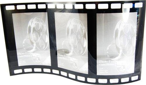 Cornice portafoto curva in vetro nero, autoportante, per 3 foto 10,2 x 15,2 cm