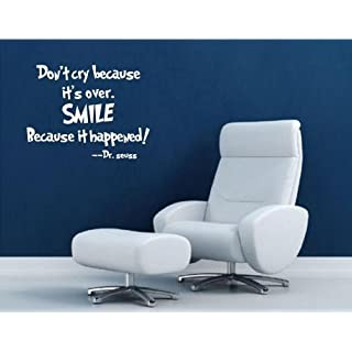 Don't Cry Because It's Over smile because it happened Dr Seuss Quote Wall Decal by ABAK Trading International LLC