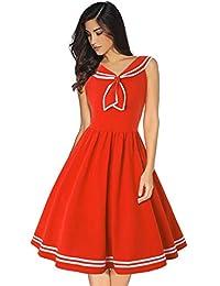 7ec12be99 JJHR Vestido Vestido De Verano Pin Up Dresses 50S Rockabilly Sailor Collar  Blue Vintage Dresses para Damas…