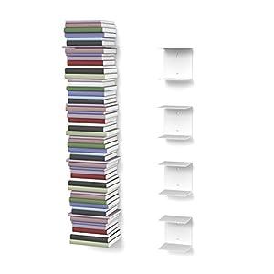 home3000 4 weiße unsichtbare Bücherregale mit 8 Fächern bis zu 200 cm hohen Bücherstapel für Bücher bis zu 22 cm Tiefe.